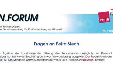 IN.FORUM 05 /2016 der ver.di  - Betriebsgruppe SenStadtUm